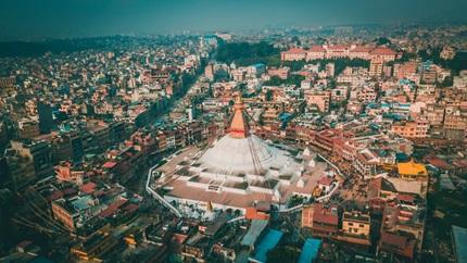 An aerial view of Kathmandu
