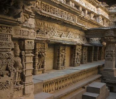 Carving in a building side in Nepal